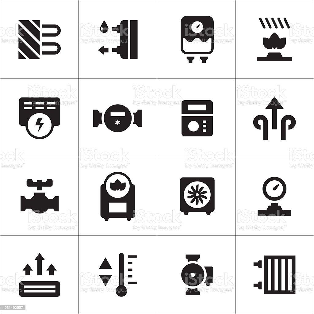 Set icons of heating vector art illustration
