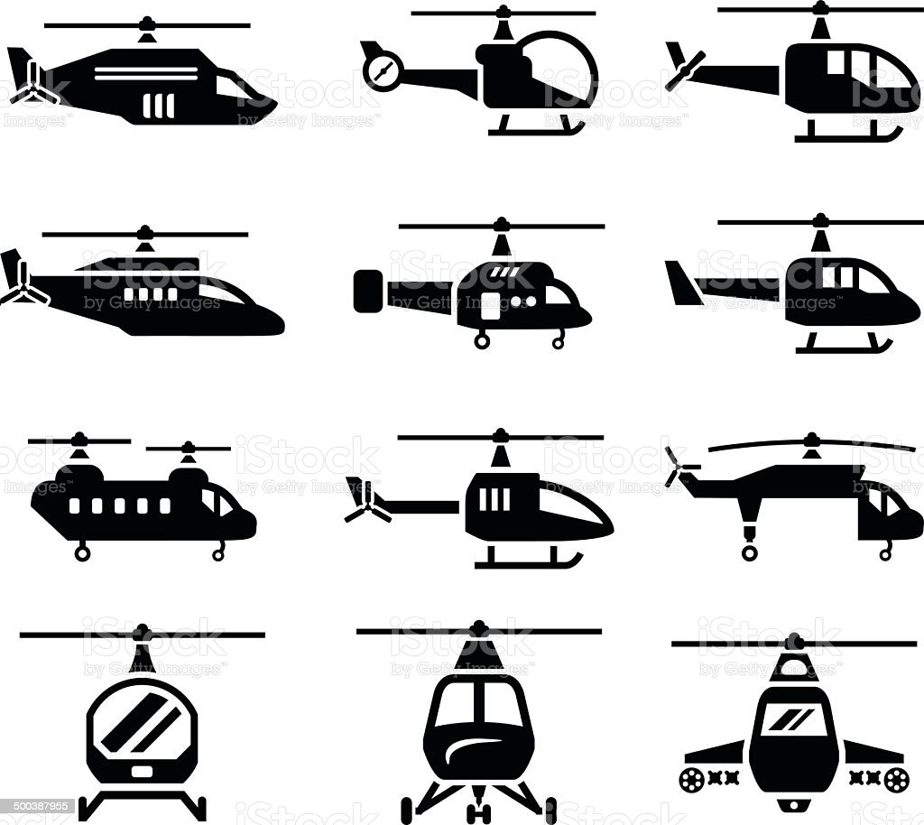 Set icons of helicopters vector art illustration