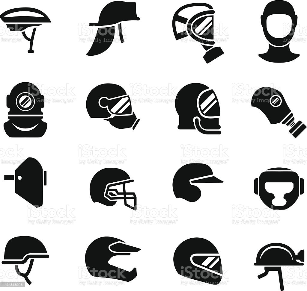 Set icons of helmets and masks vector art illustration