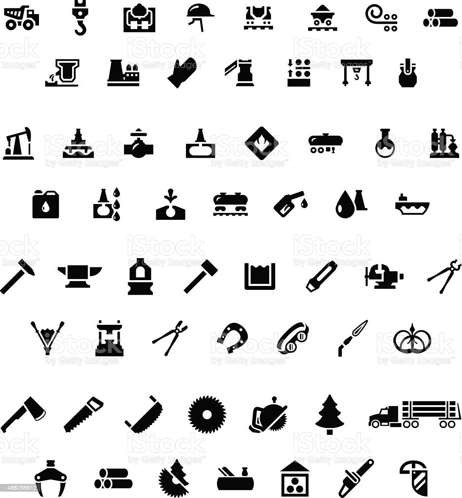 Set icons of industry. Metallurgical, oil, forge and sawmill icons vector art illustration
