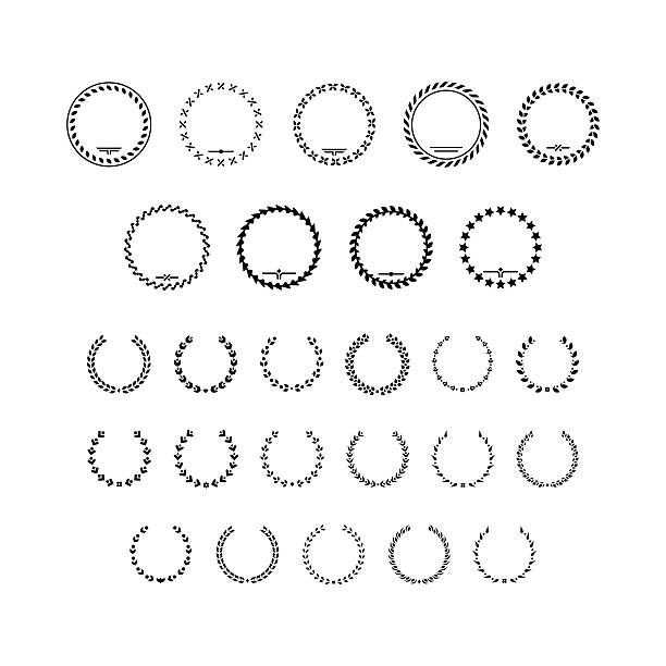 Set icons of laurel wreath and modern frames Set icons of laurel wreath and modern frames isolated on white. This illustration - EPS10 vector file. bay tree stock illustrations