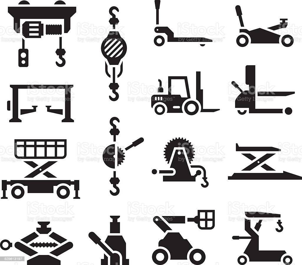 Set icons of lifting equipment vector art illustration