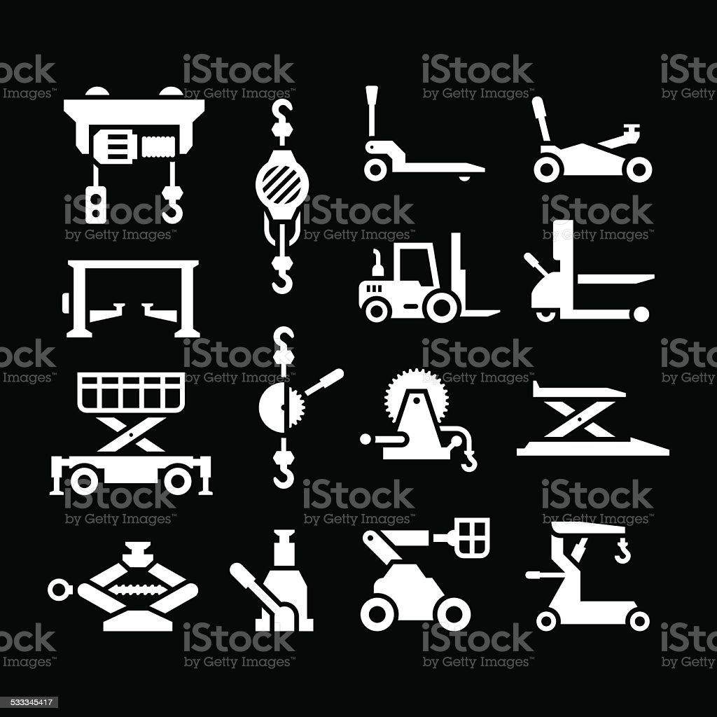 Set icons of lifting equipment vector art illustration