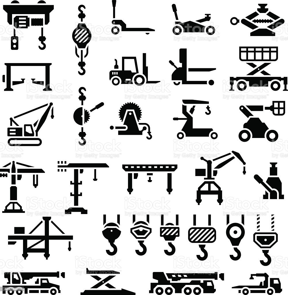 Set icons of lifting equipments, cranes, winches and hooks vector art illustration
