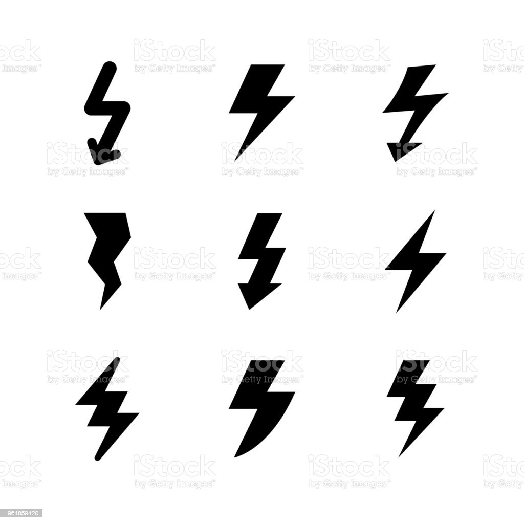 Set icons of lightning royalty-free set icons of lightning stock vector art & more images of arrow symbol