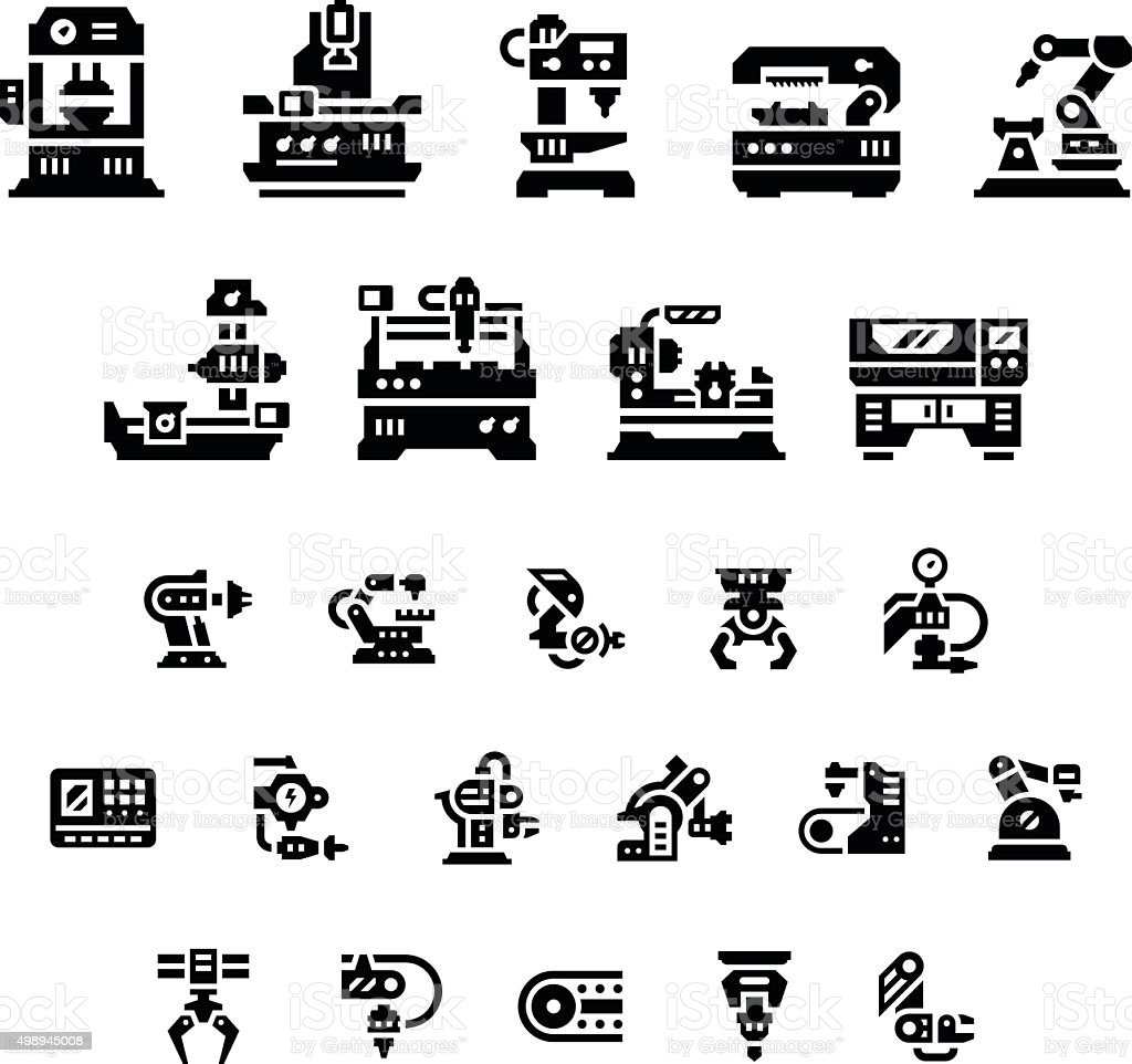 Set icons of machine tool, robotic industry vector art illustration