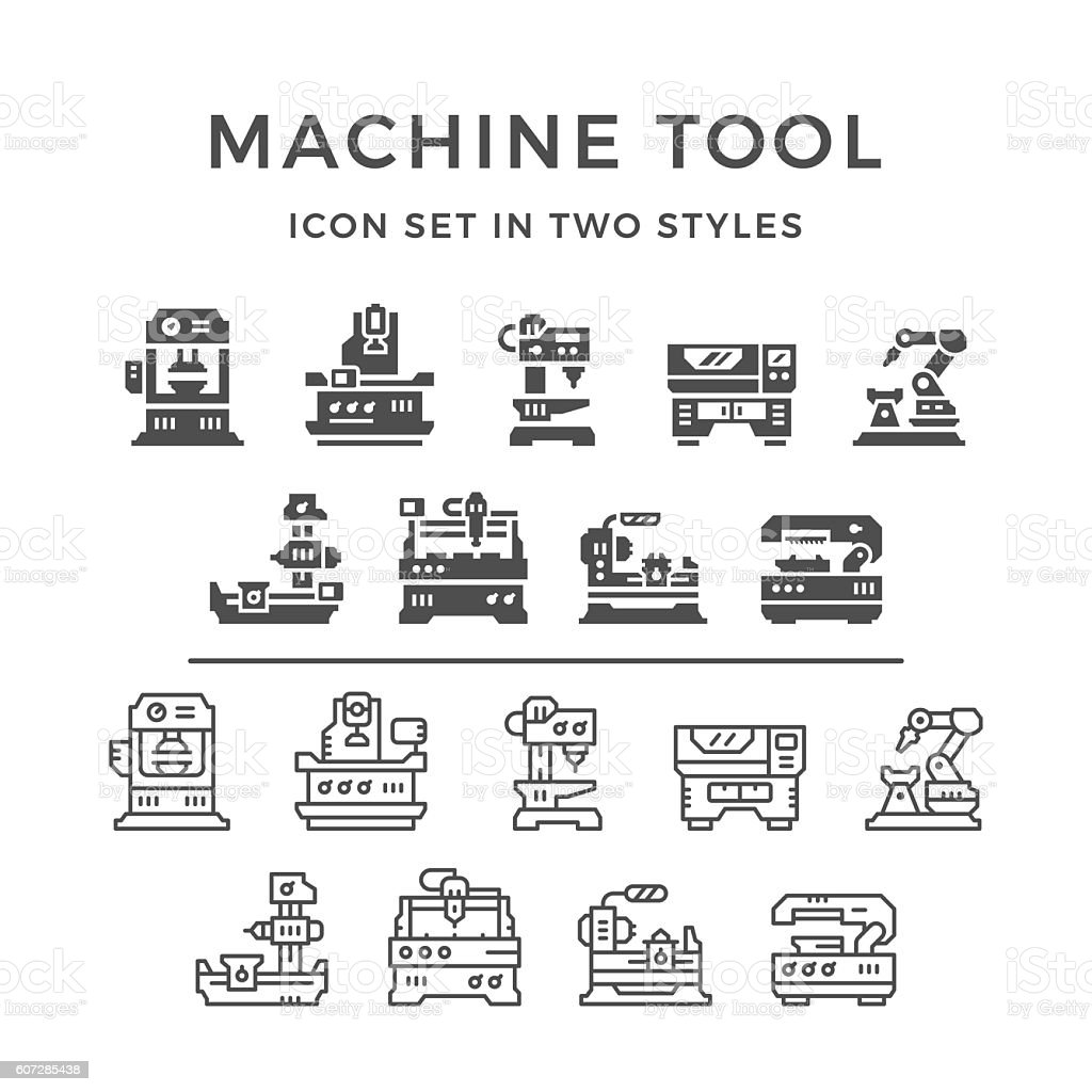 Set icons of machine tool vector art illustration