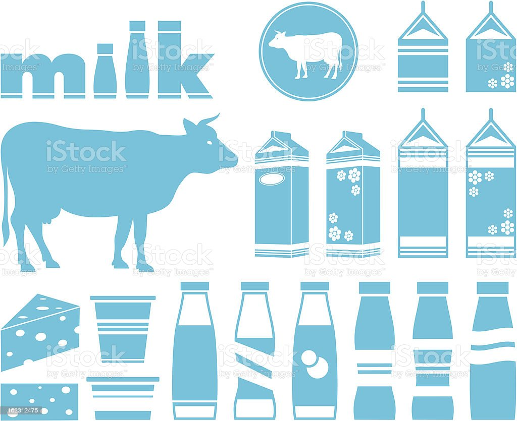 Set icons of milk, dairy products and cow royalty-free stock vector art