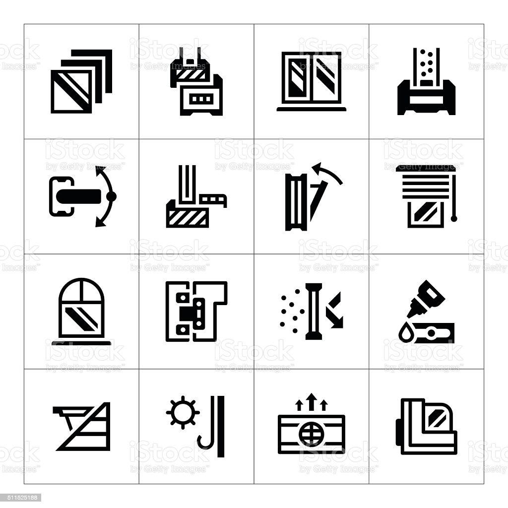 Set icons of modern window vector art illustration