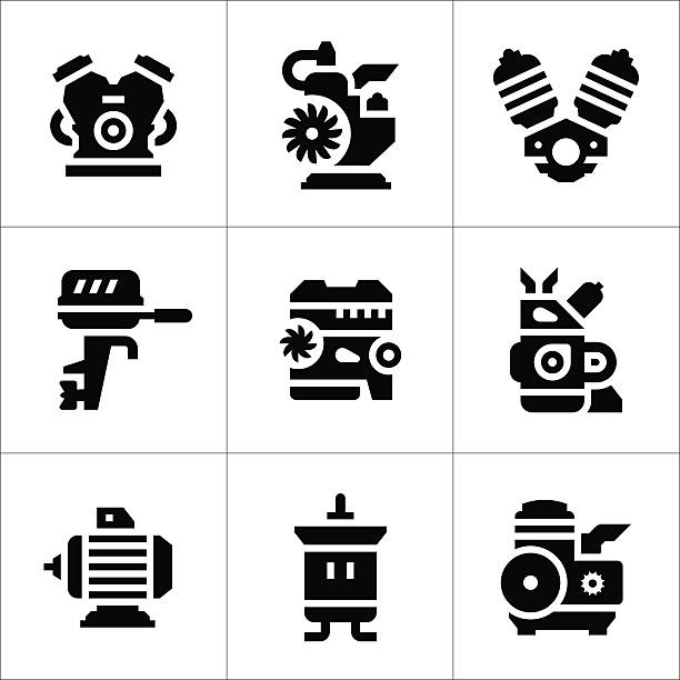 stockillustraties, clipart, cartoons en iconen met set icons of motor and engine - elektrische motor