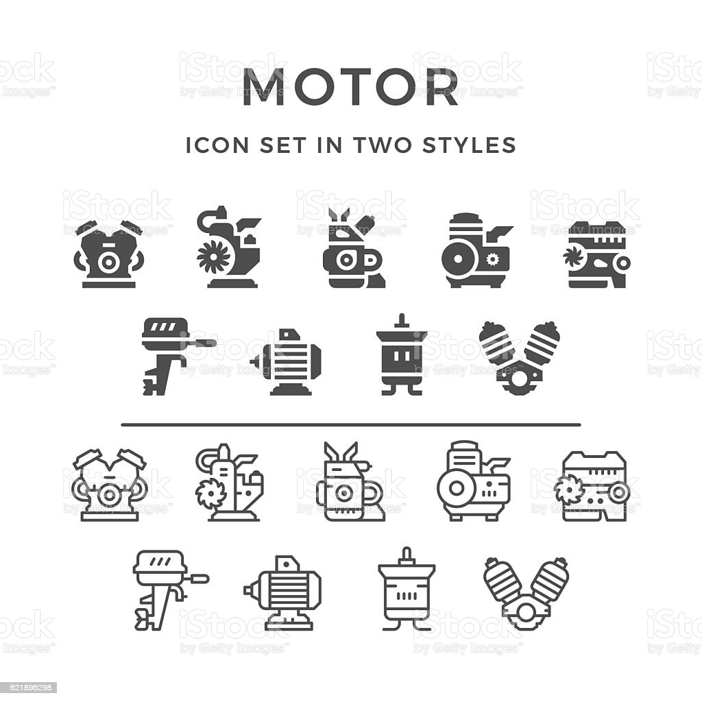 Set icons of motor and engine vector art illustration