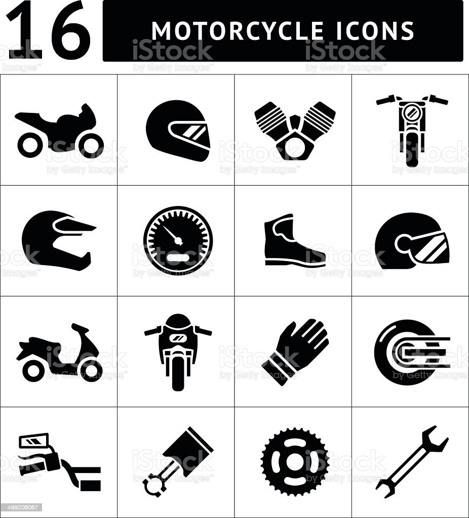 Set icons of motorcycle royalty-free stock vector art