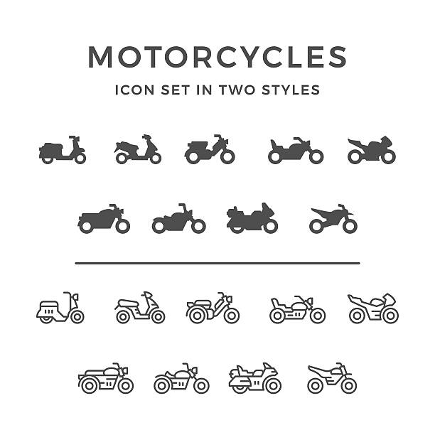set symbole von motorcycle - moped stock-grafiken, -clipart, -cartoons und -symbole
