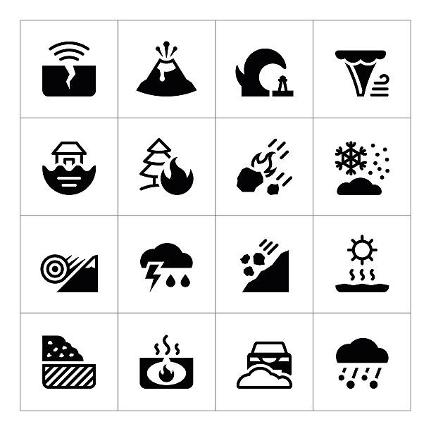 Set icons of natural disaster Set icons of natural disaster isolated on white. This illustration - EPS10 vector file. avalanche stock illustrations