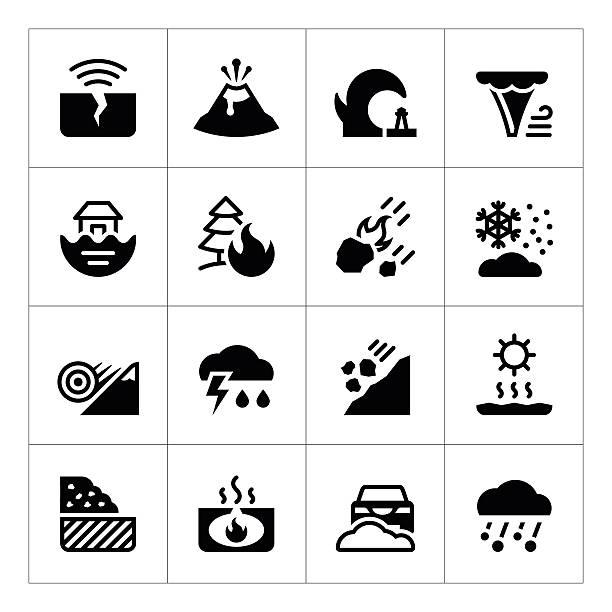 illustrazioni stock, clip art, cartoni animati e icone di tendenza di impostare di icone di catastrofe naturale - grandine vector