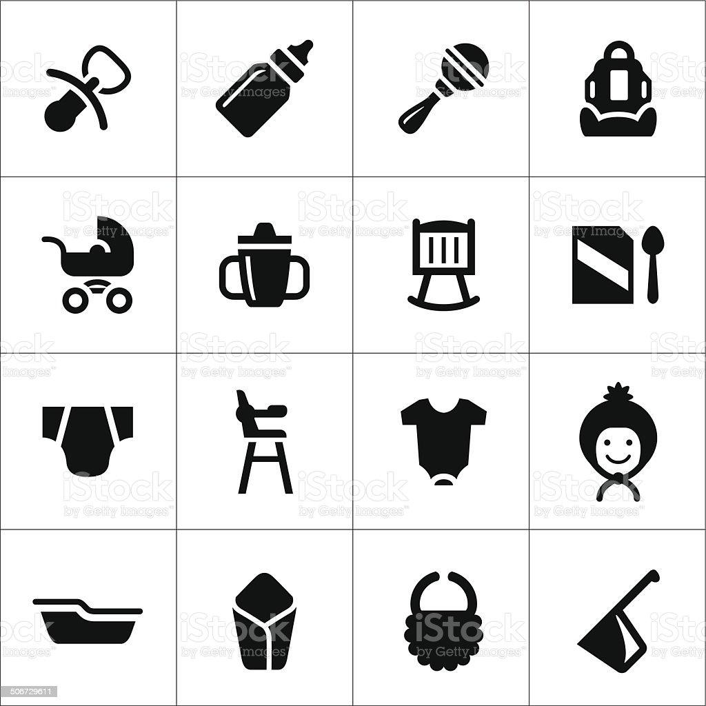 Ensemble d'icônes de bébé nouveau-né - Illustration vectorielle