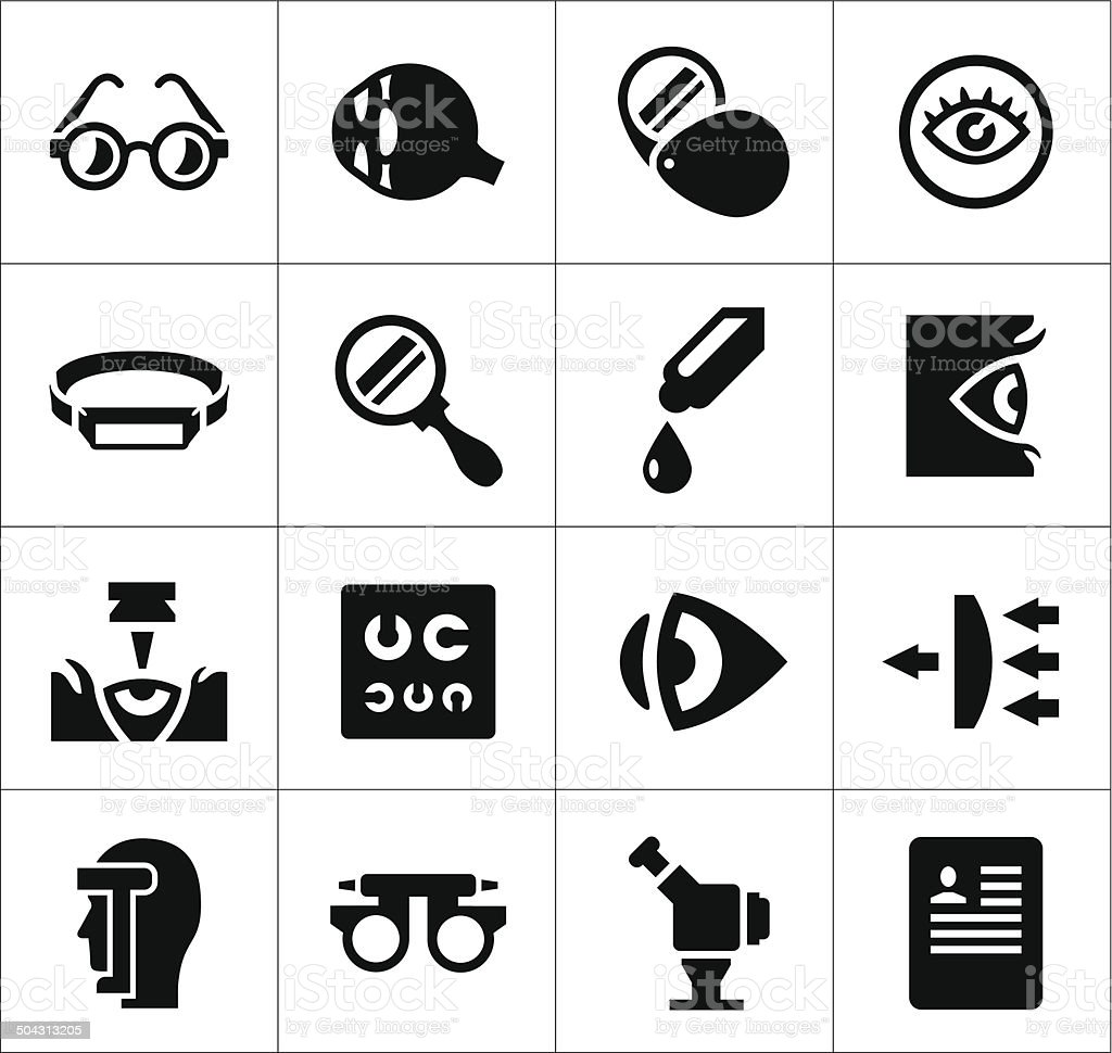 Set icons of ophthalmology and optometry vector art illustration