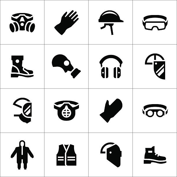 Set icons of personal protective equipment Set icons of personal protective equipment isolated on white. This illustration - EPS10 vector file. protective workwear stock illustrations