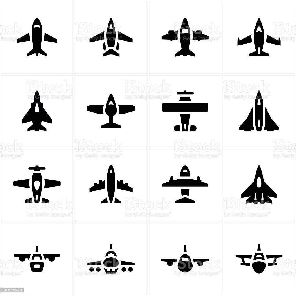 Set icons of planes vector art illustration