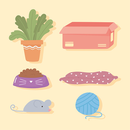 set icons of plant box cushion toy and ball for pets