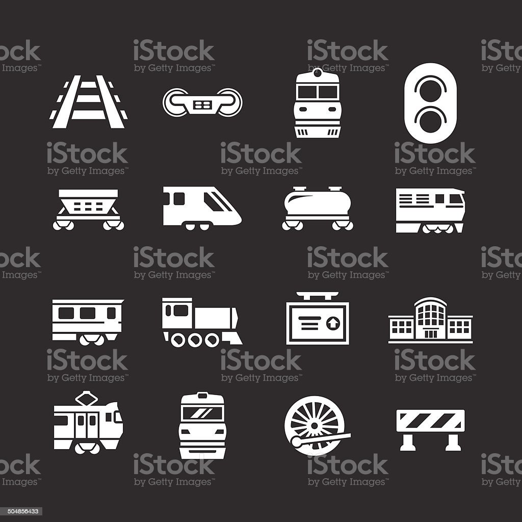 Set icons of railroad and train vector art illustration