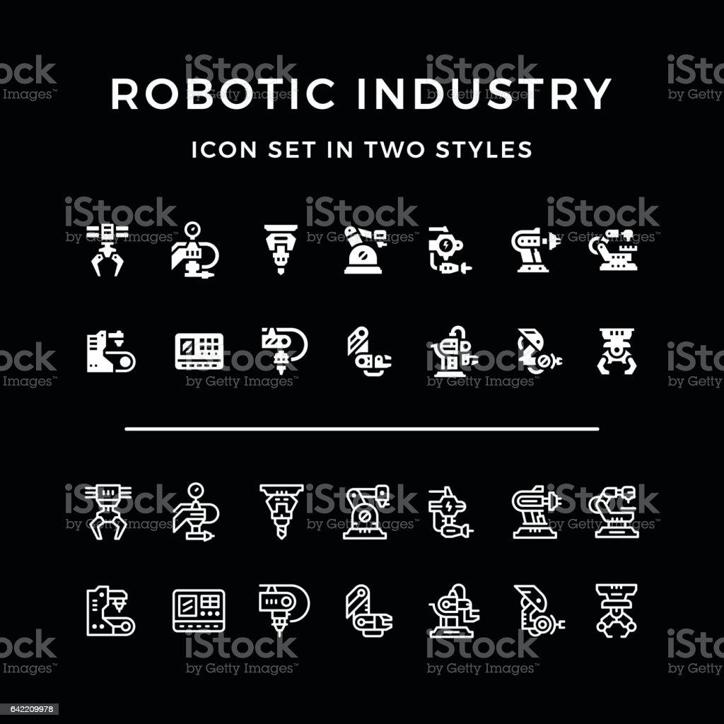 Set icons of robotic industry vector art illustration