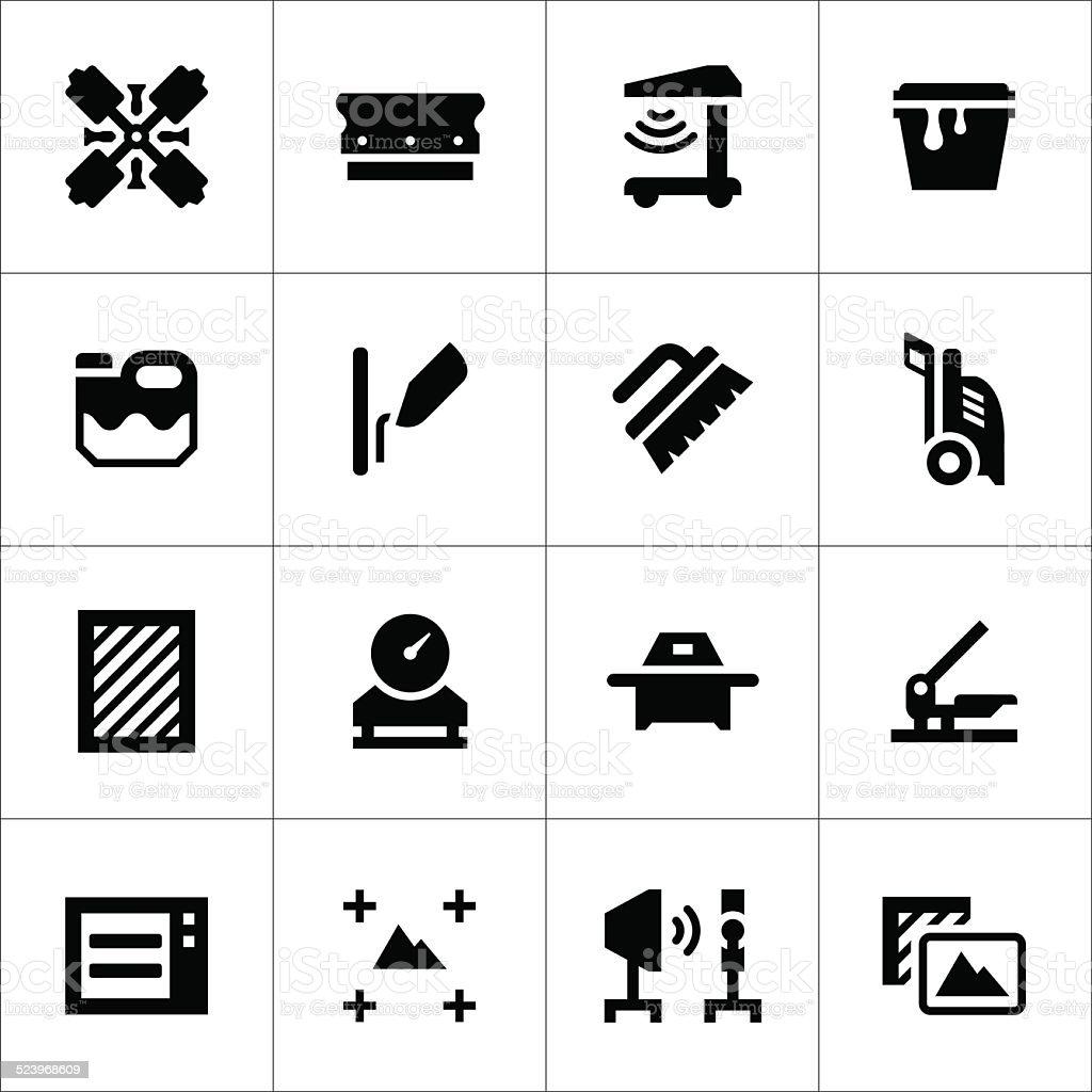Set icons of screen printing vector art illustration