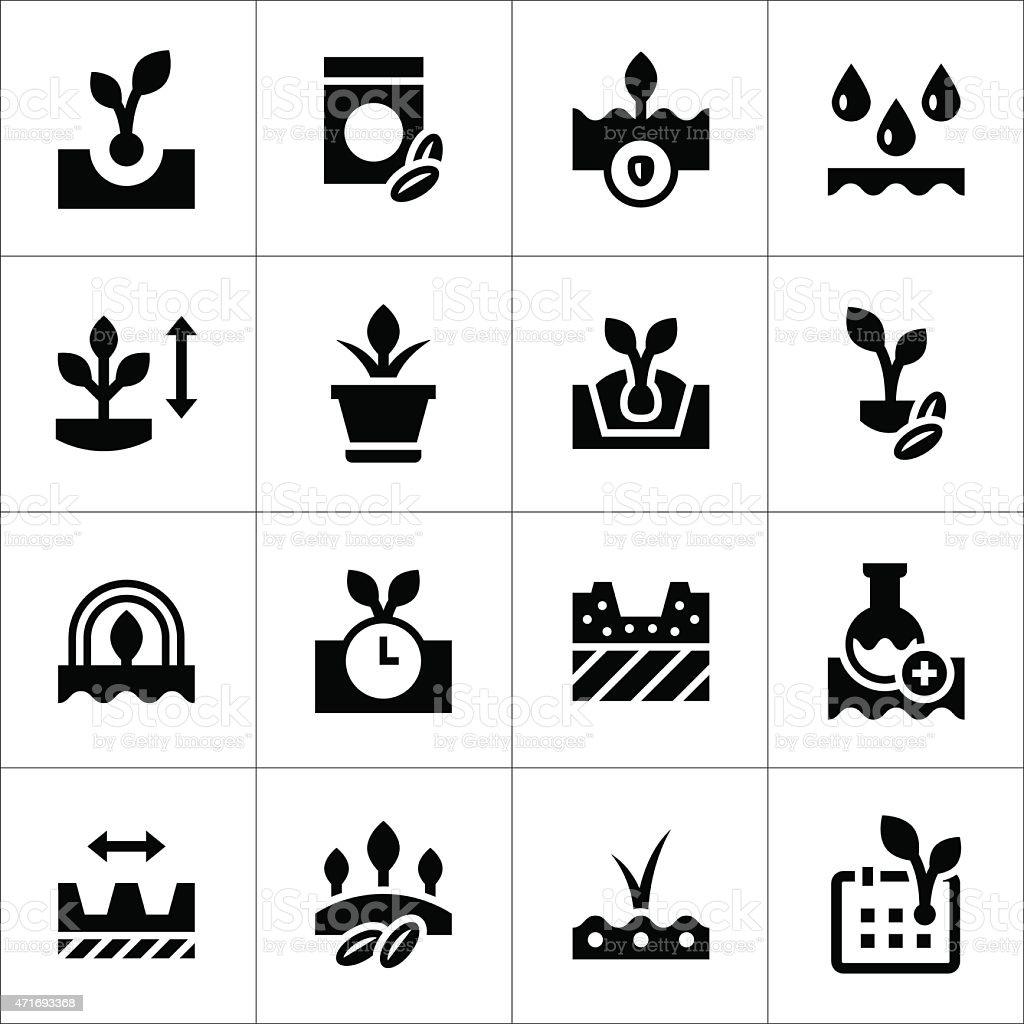 Conjunto de iconos de semillas y de esperanza - ilustración de arte vectorial