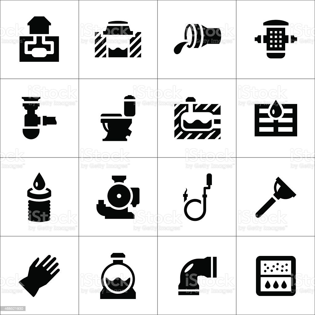 Set icons of sewerage vector art illustration