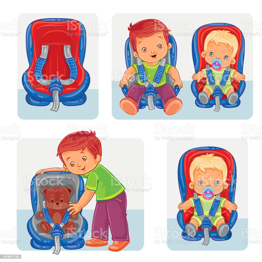 Set icons of small children in car seats vector art illustration