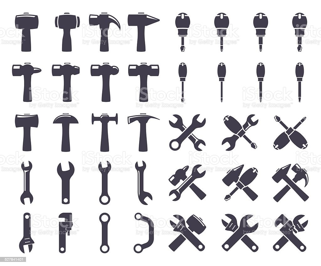 Set icons of tools vector art illustration