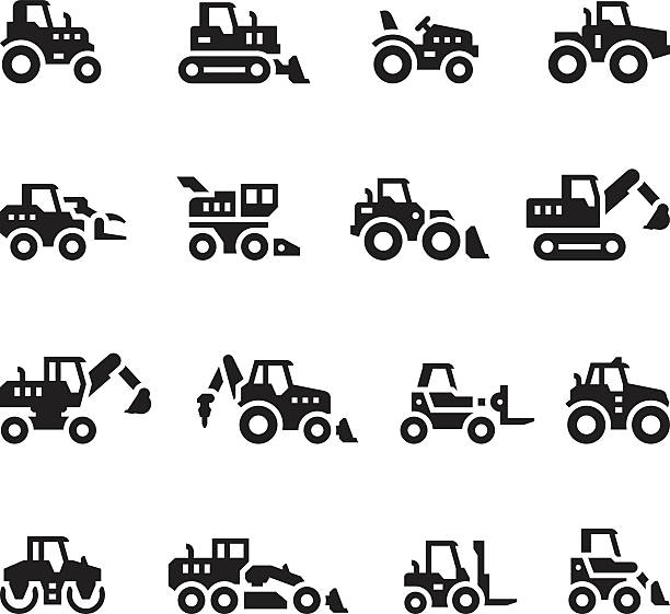 stockillustraties, clipart, cartoons en iconen met set icons of tractors, farm and buildings machines, construction vehicles - shovel