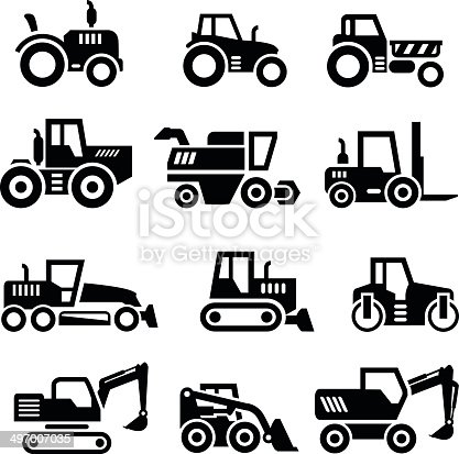 Set icons of tractors, farm and buildings machines, construction vehicles isolated on white. This illustration - EPS10 vector file.