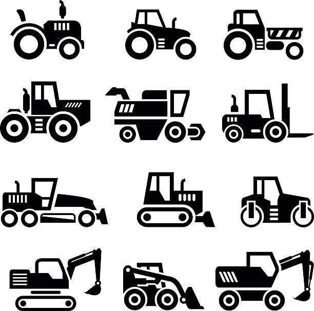 Set icons of tractors, farm and buildings machines, construction vehicles vector art illustration