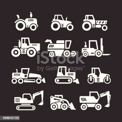 Set icons of tractors, farm and buildings machines, construction vehicles isolated on black. This illustration - EPS10 vector file.