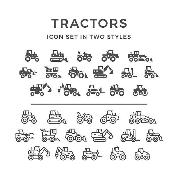 set icons of tractors - bagger stock-grafiken, -clipart, -cartoons und -symbole