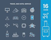 Set icons of travel and hotel service. Vacation, travel, trip