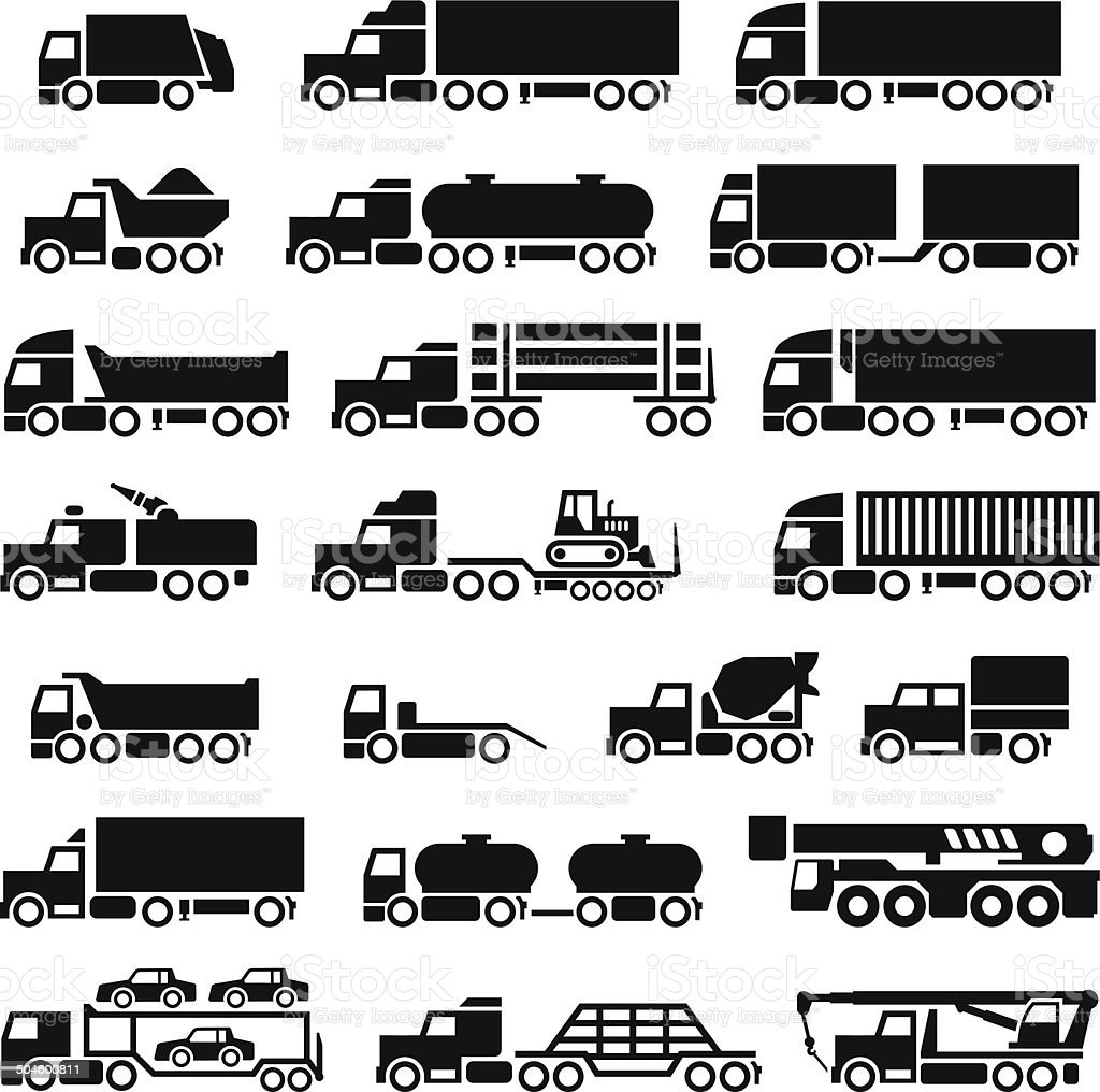 Set icons of trucks, trailers and vehicles vector art illustration