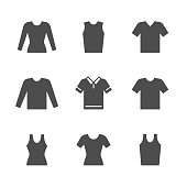 Set icons of t-shirt, singlet, long sleeve isolated on white. Vector illustration
