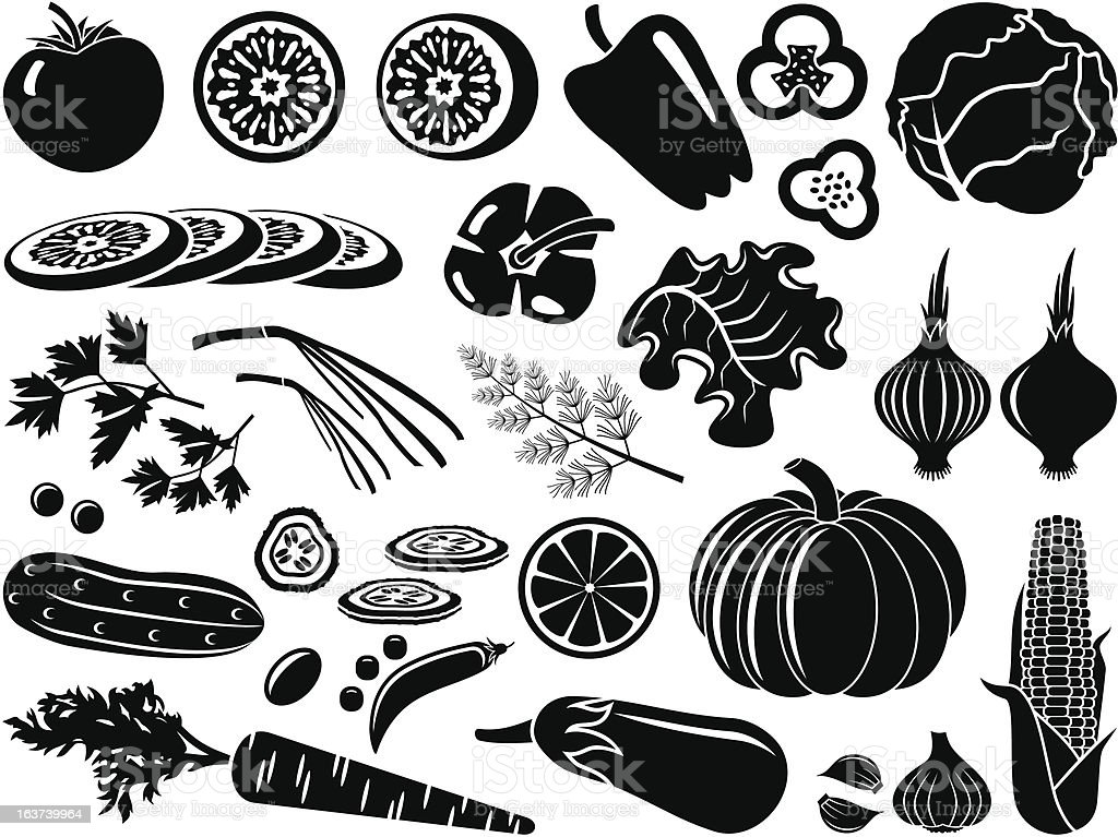 Set icons of vegetables royalty-free stock vector art