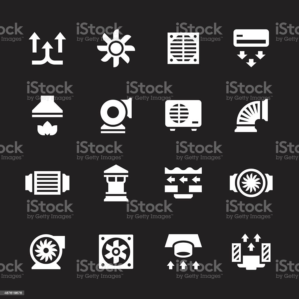 Set icons of ventilation and conditioning vector art illustration