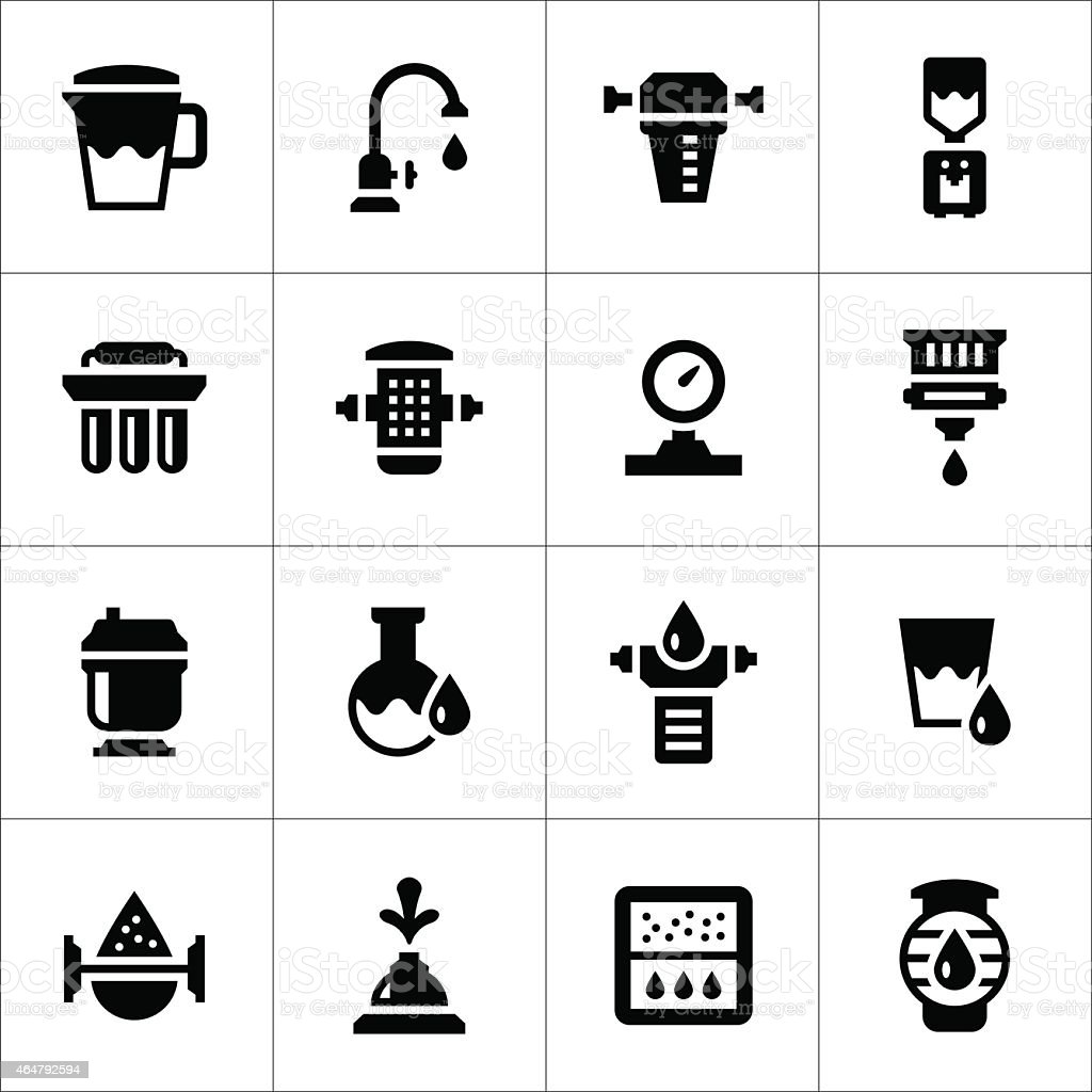 Set icons of water filters vector art illustration