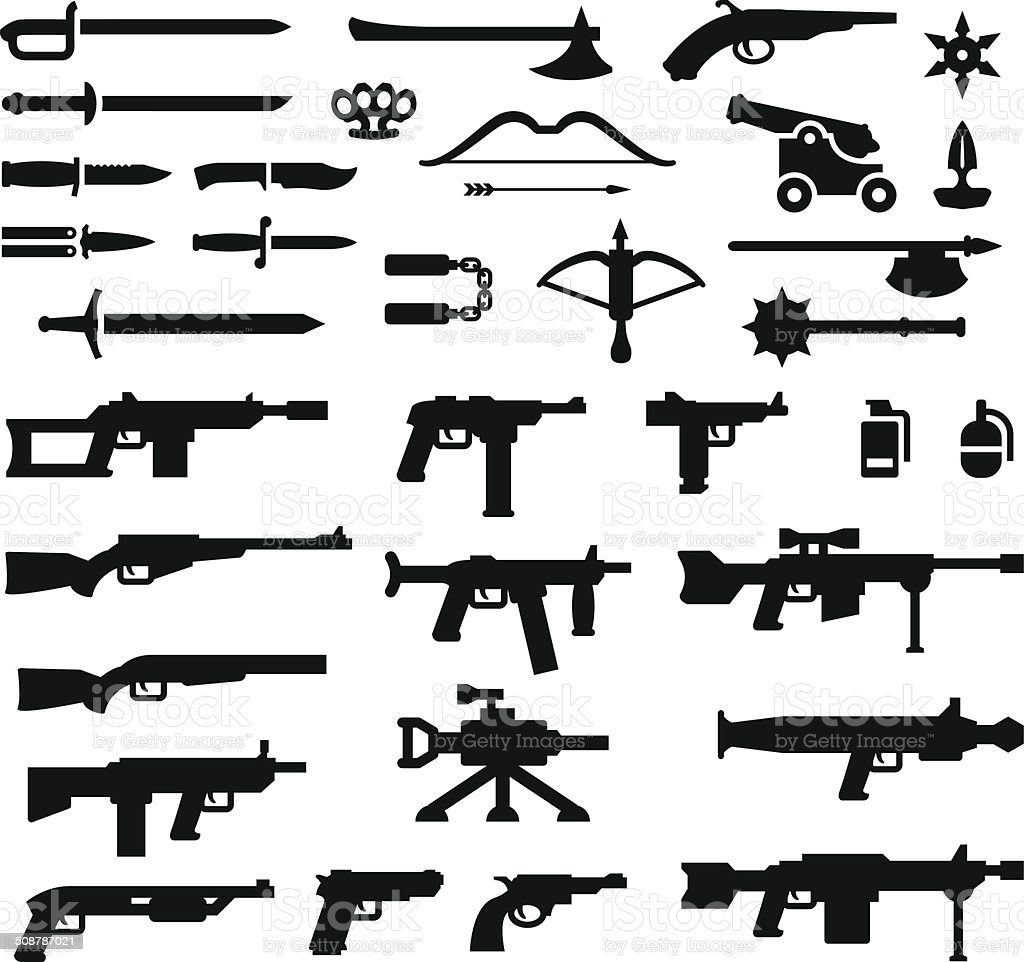Set icons of weapons vector art illustration