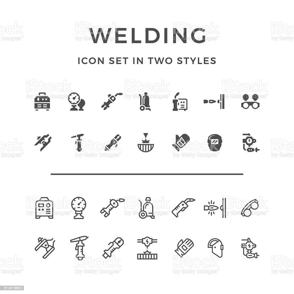 Set icons of welding vector art illustration