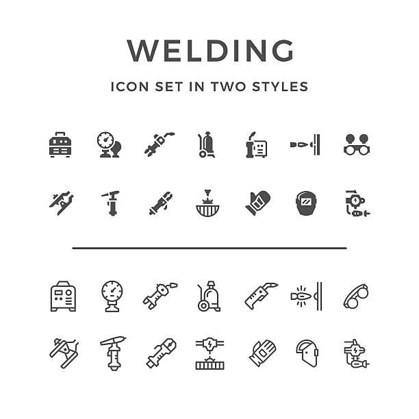 set symbole von schweißungen - metallverarbeitung stock-grafiken, -clipart, -cartoons und -symbole