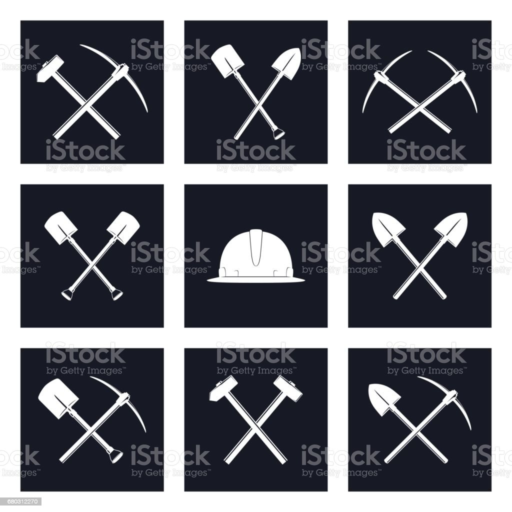 Set Icons of Working Tools vector art illustration