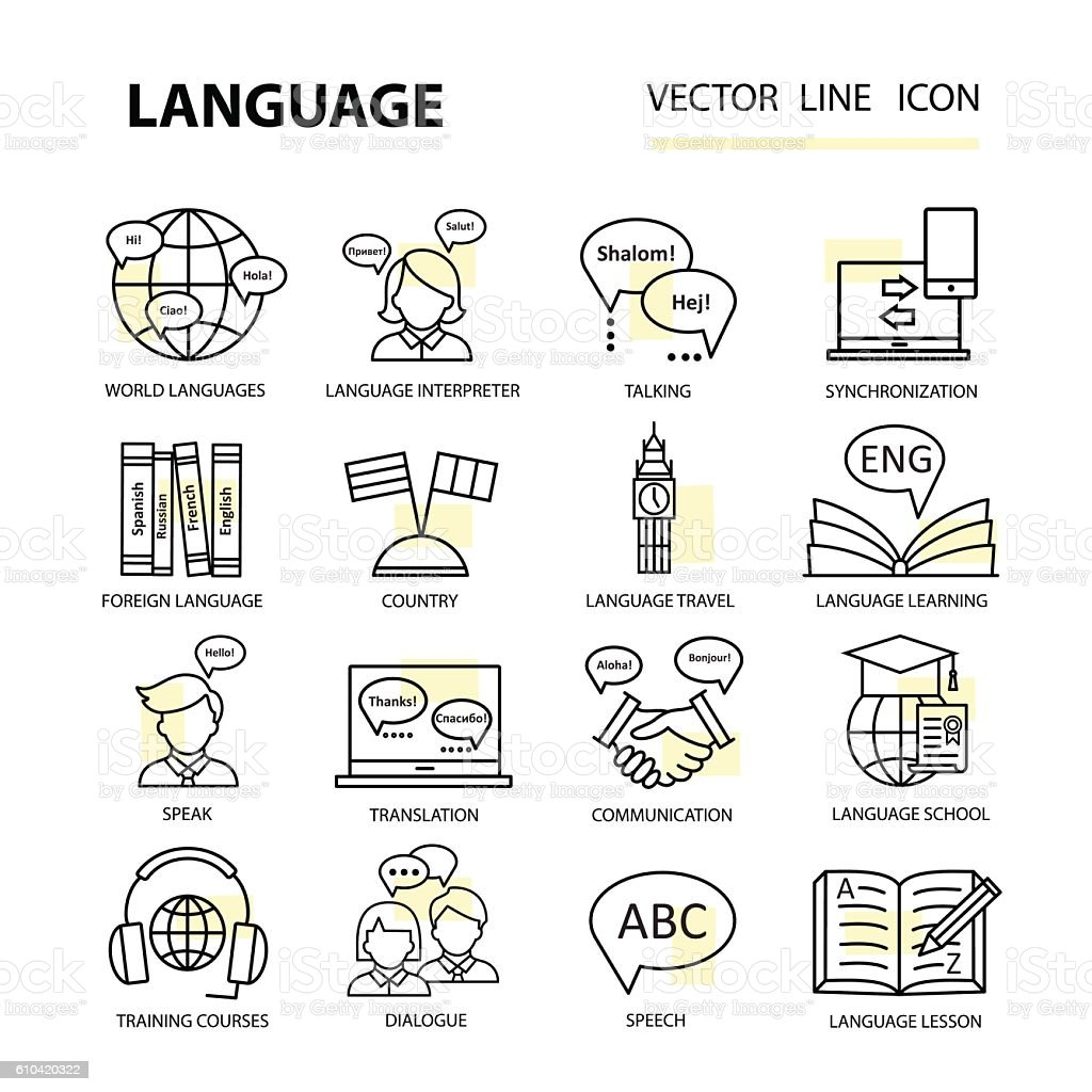Set icons on the topic of learning a foreign language. - Illustration vectorielle