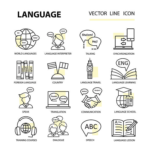 Set icons on the topic of learning a foreign language. – Vektorgrafik