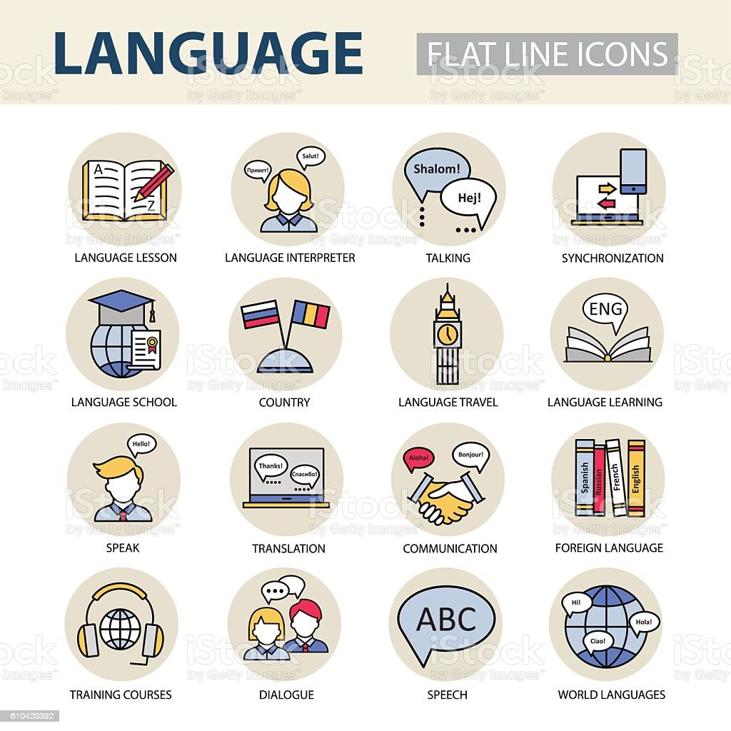 Set  icons on the topic of learning a foreign language. ベクターアートイラスト