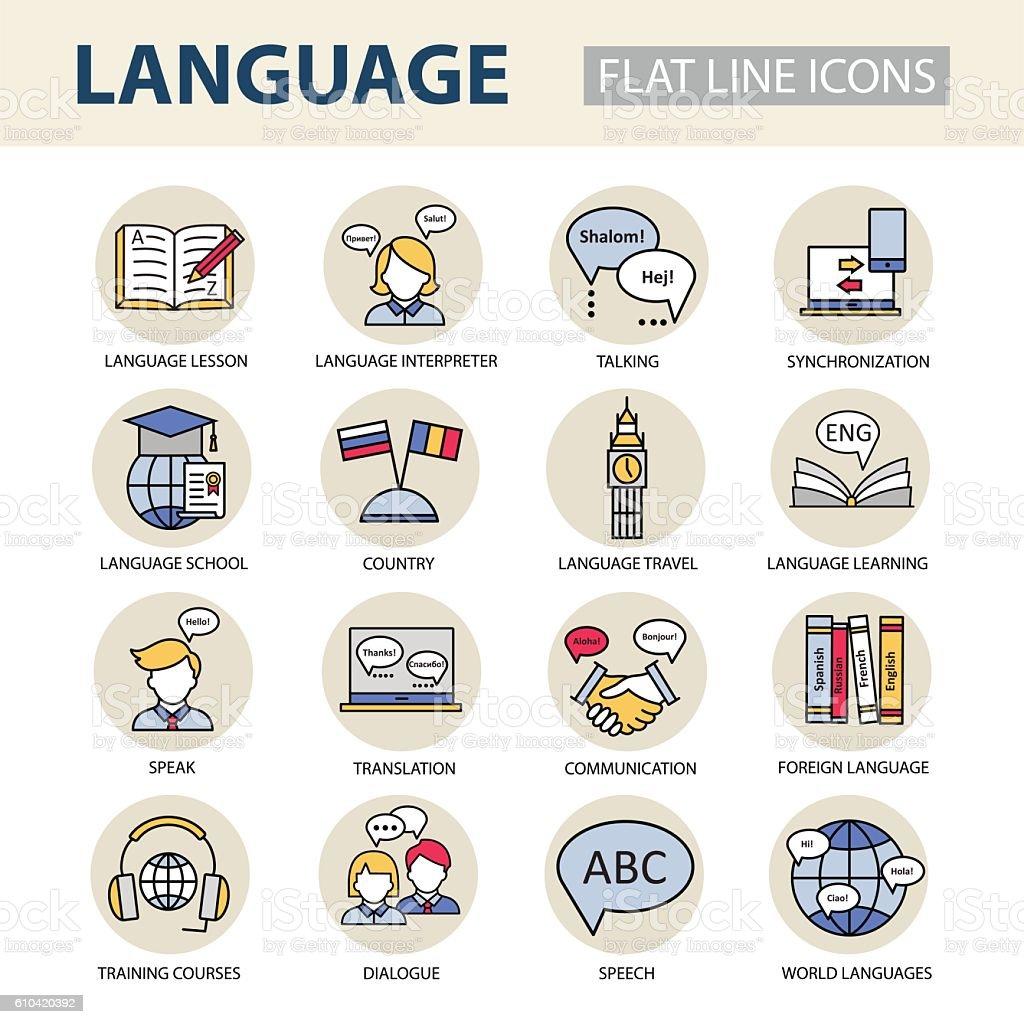 Set  icons on the topic of learning a foreign language. - ilustração de arte em vetor